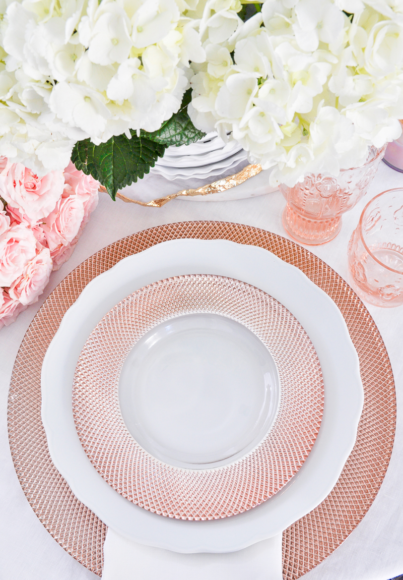 blush dishes and glasses