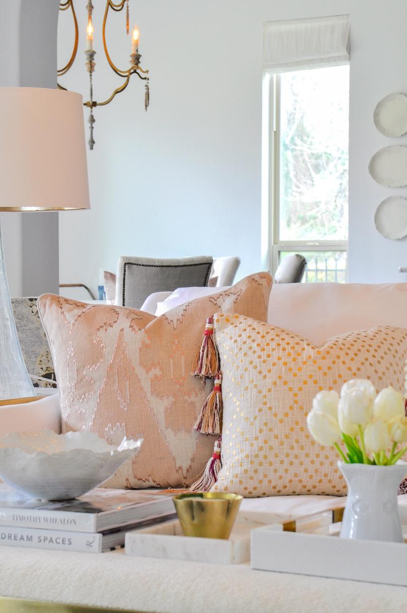 blush living room throw pillows
