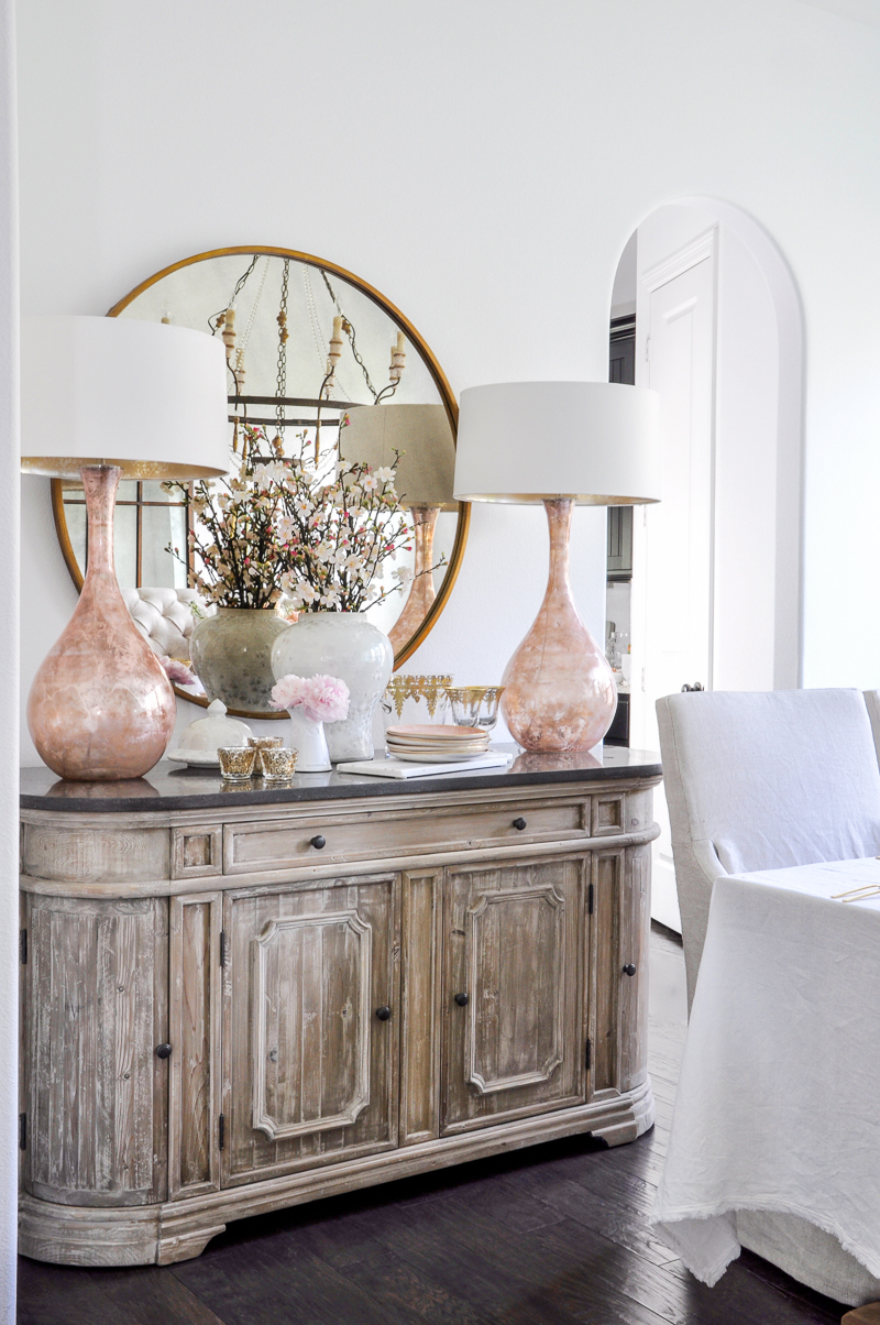 dining room sideboard with blush and white spring decor