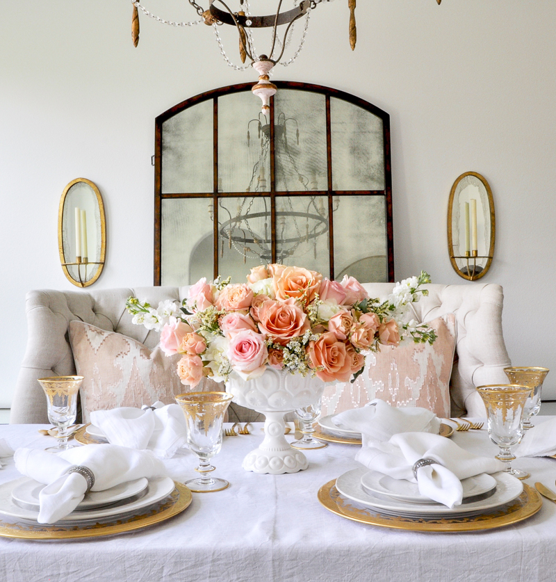dining room table with beautiful spring tablescape