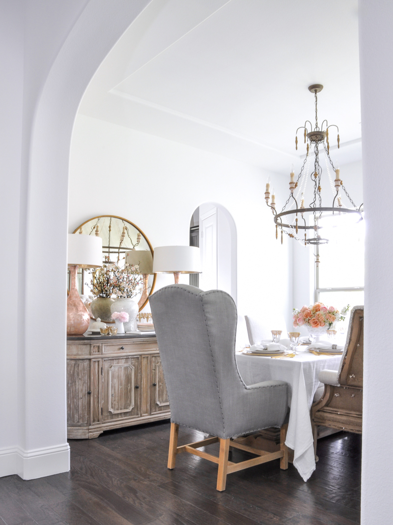 dining room with spring decor