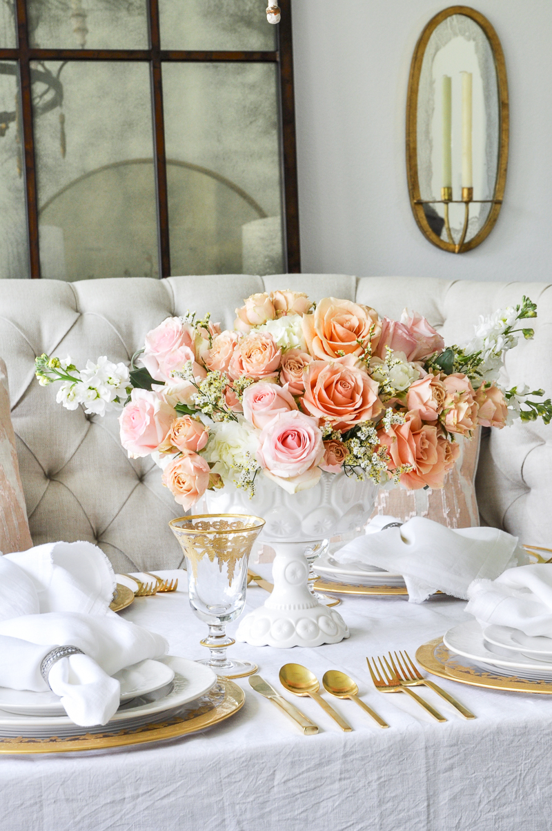 elegant spring dining room beautiful floral centerpiece