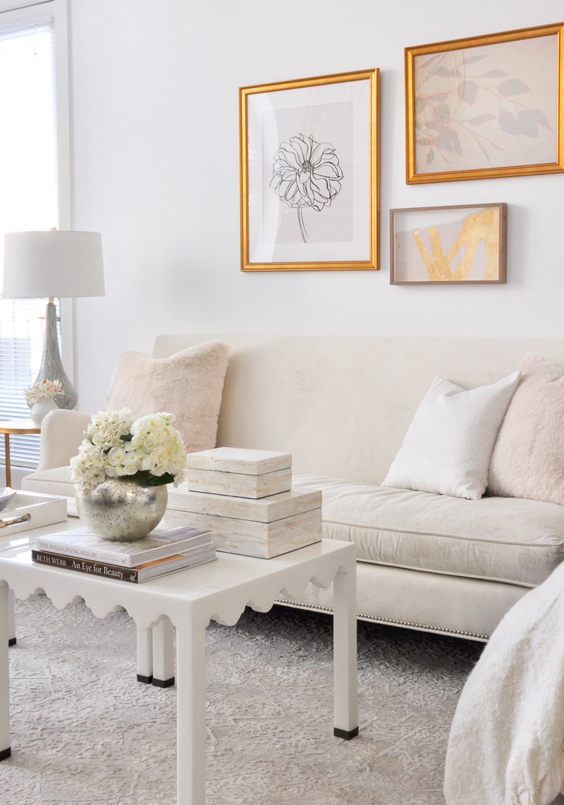 elegant small living room styled for spring