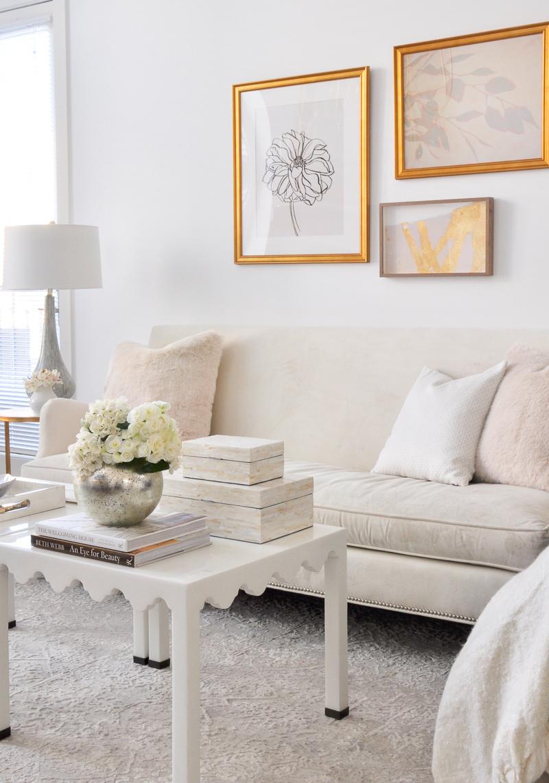 elegant small living room styled for spring