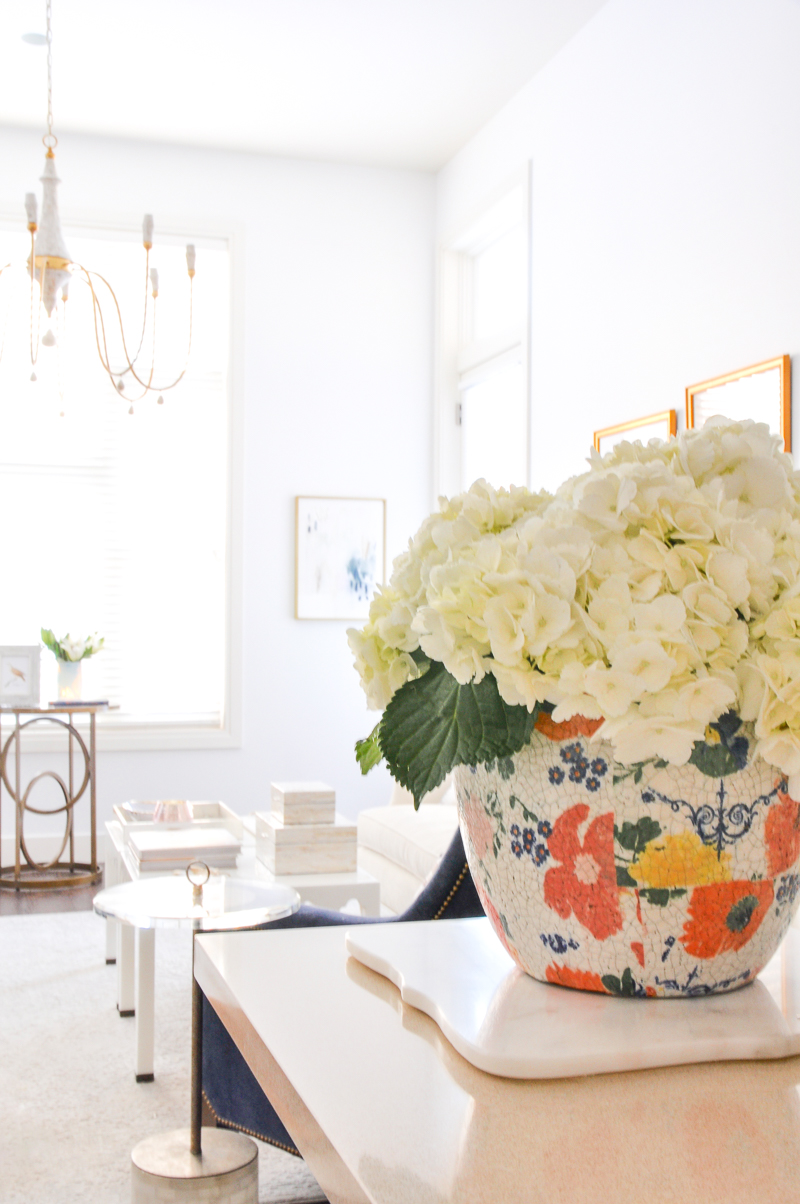 floral planter with hydrangeas