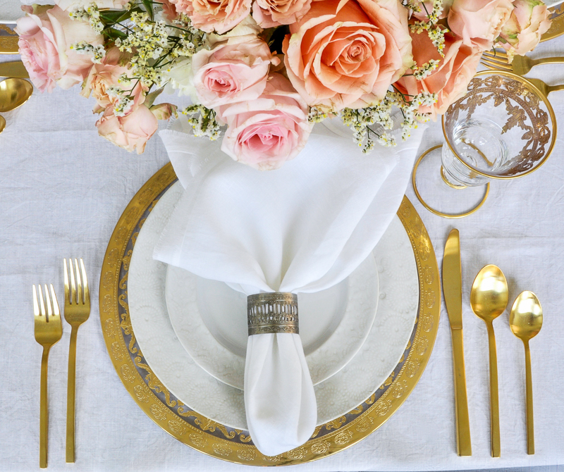 gorgeous gold and white and peach place setting