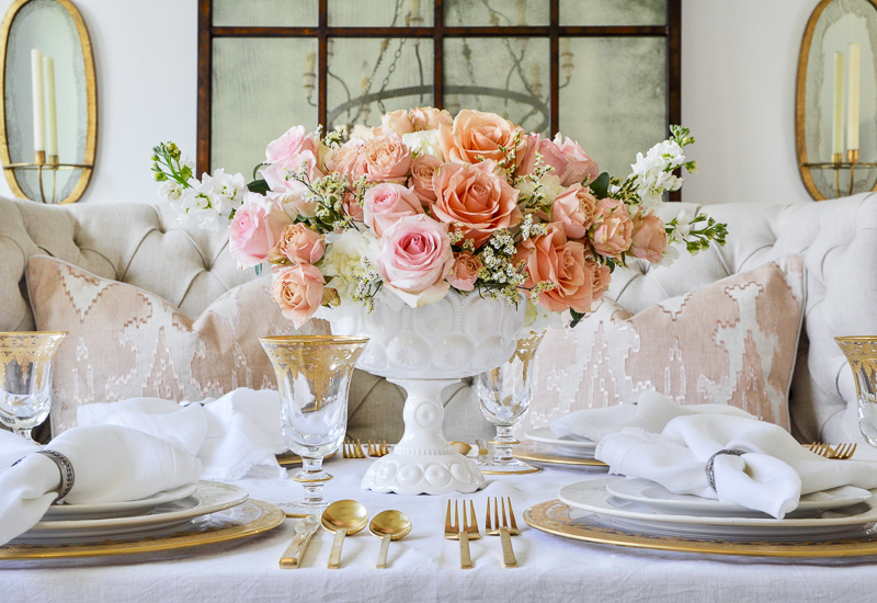 romantic gold and white and peach dining table