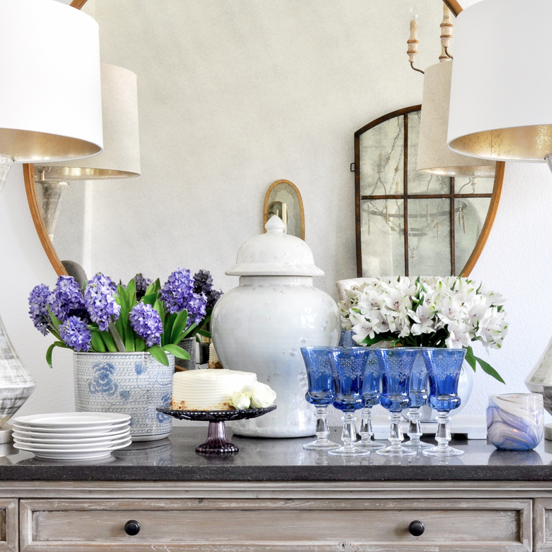 spring dining room vignette