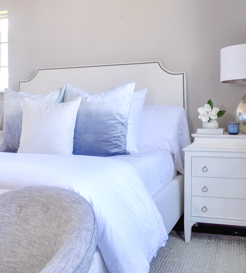 blue ombre bed pillows