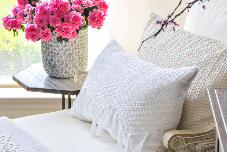 white crocheted edge spring pillow