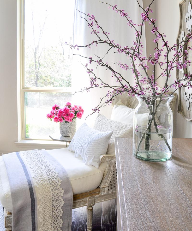 white crocheted edge spring pillow