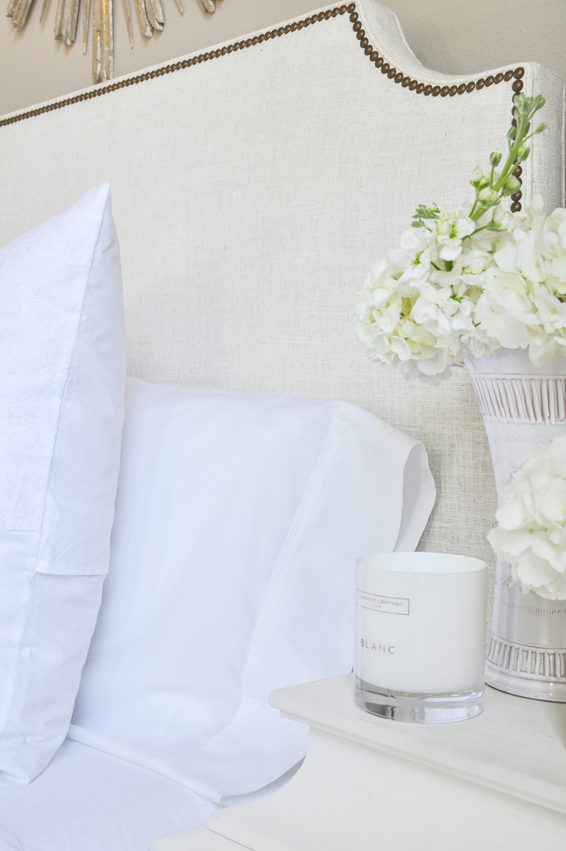 beautiful white bedding and sheets
