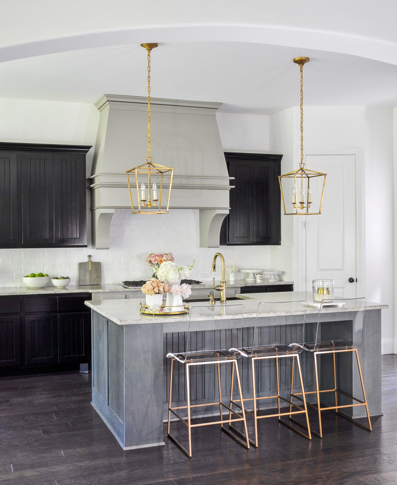 dramatic kitchen update with gold accents