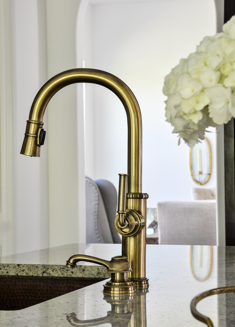 kitchen update with stunning gold faucet
