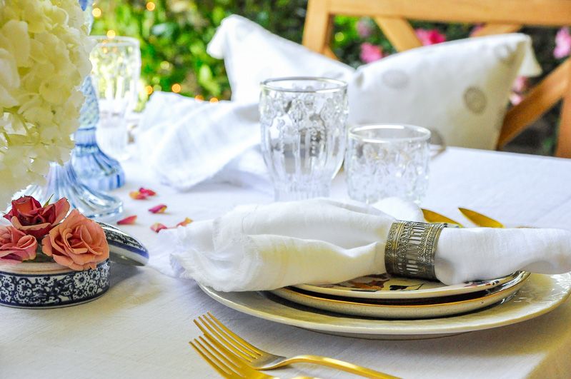 Beautiful dinnerware linen napkin glassware