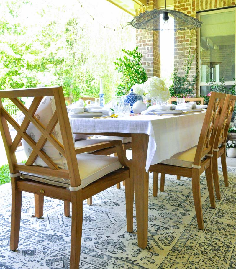 Beautiful teak patio dining furniture