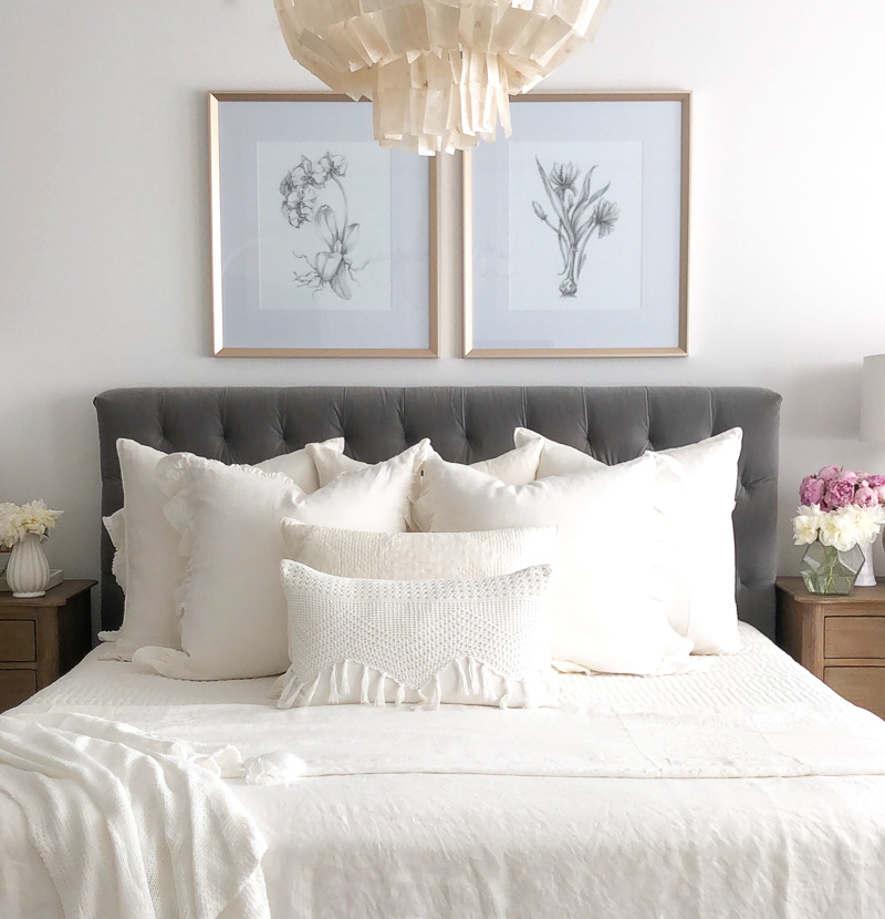 Bedding sources gray bed white linens