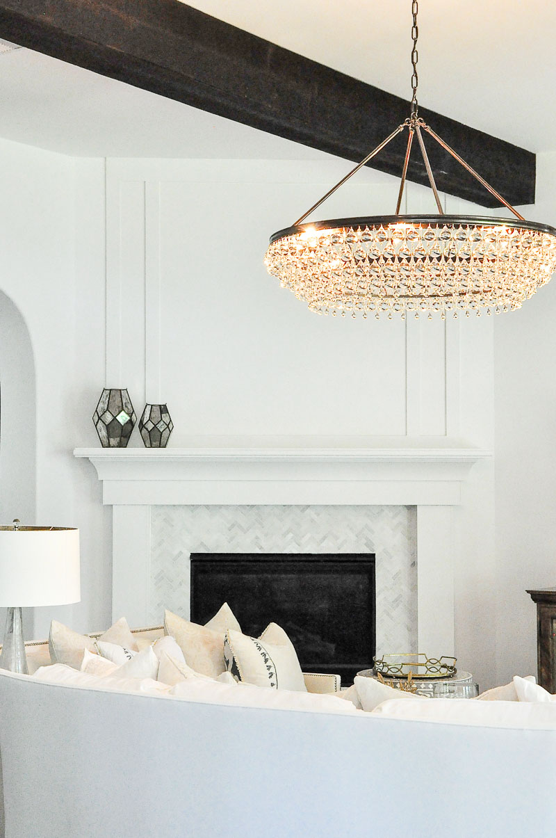 white fireplace surround