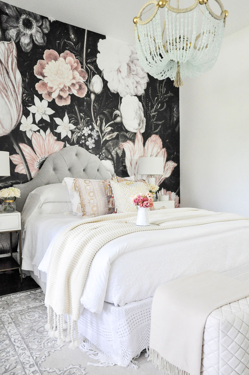 bedroom dark floral wallpaper mural