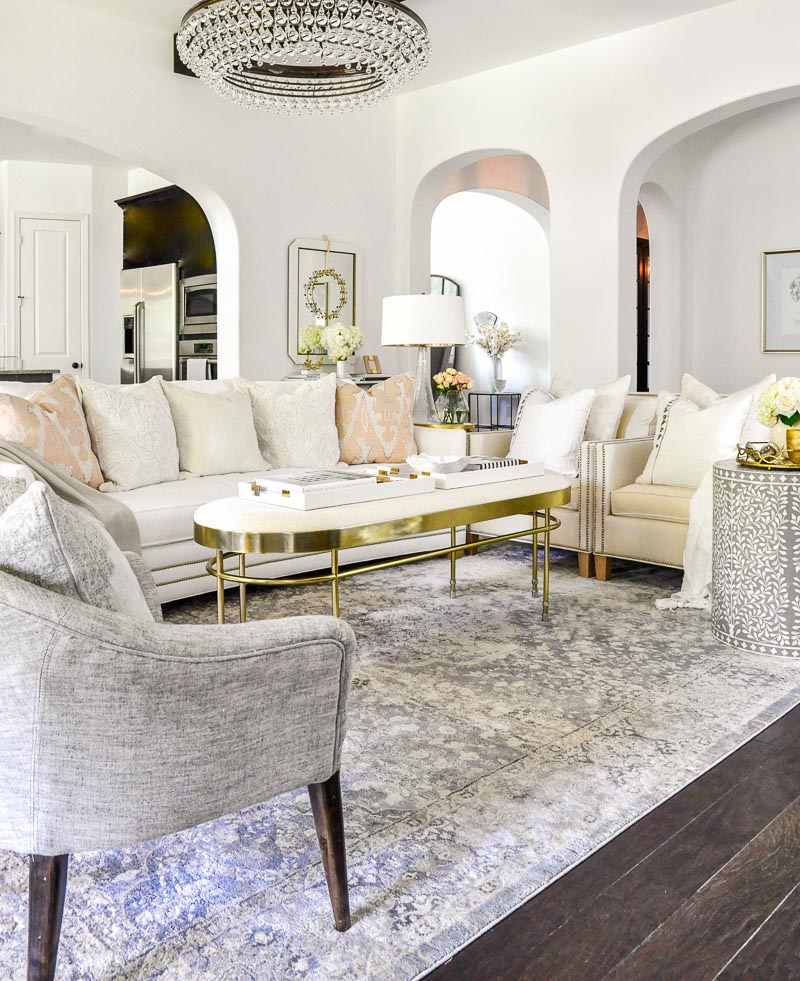 Beautiful white gray living room gold accents