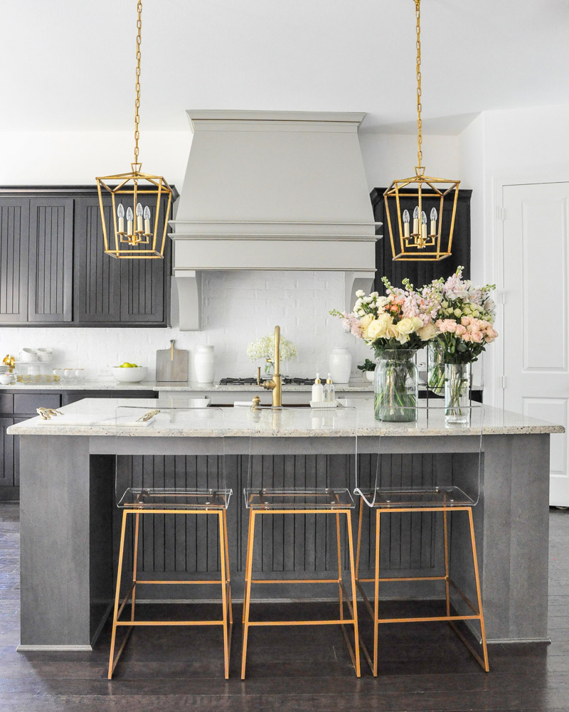 Beautiful kitchen statement vent hood gold lucite bar stools beautiful