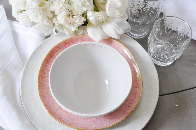 Blush pink white place setting