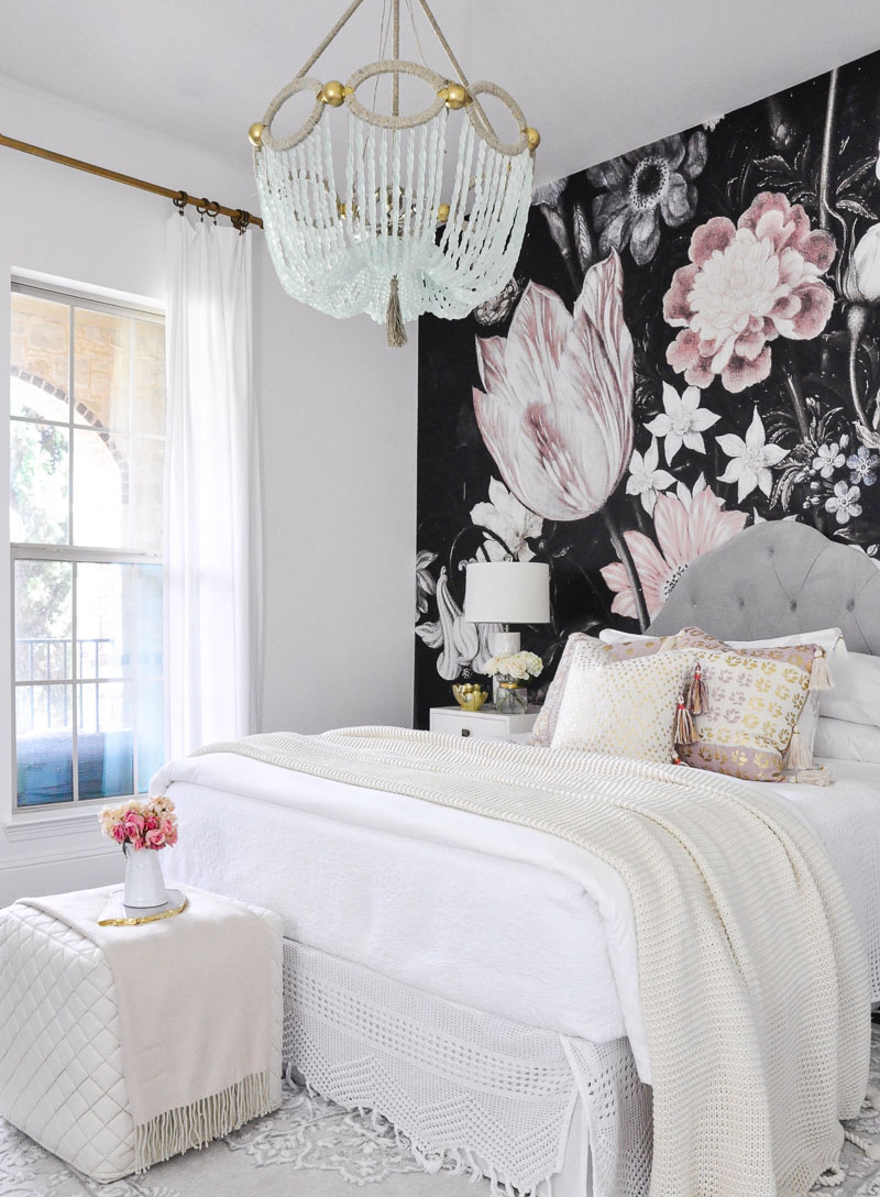 Dark floral wallpaper pink white bedroom