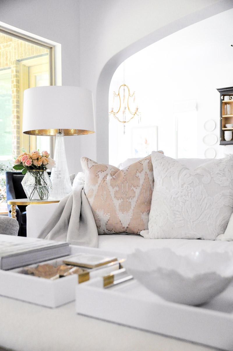 Summer decor white sofa pillows blush