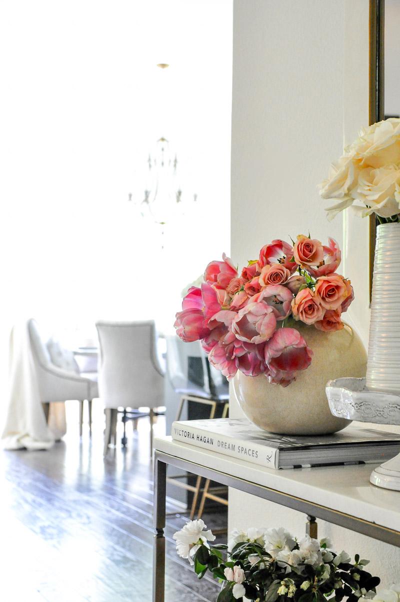 Bright flowers round vase