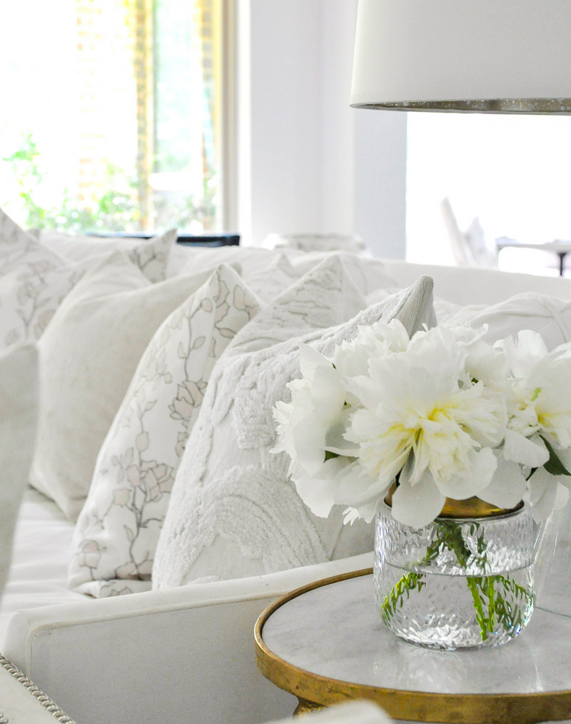 white sofa beautiful pillows