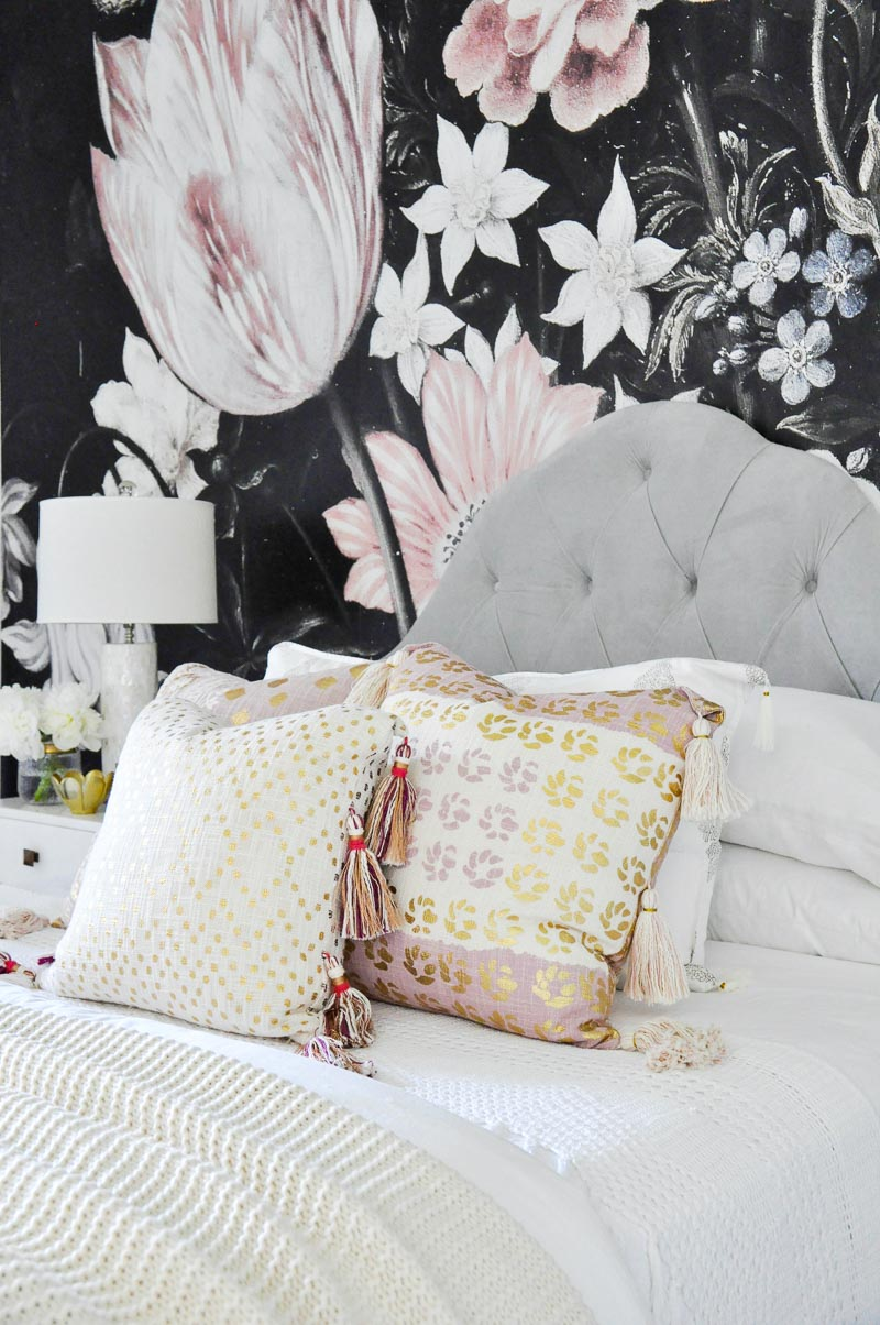 Pink and gold bed pillows
