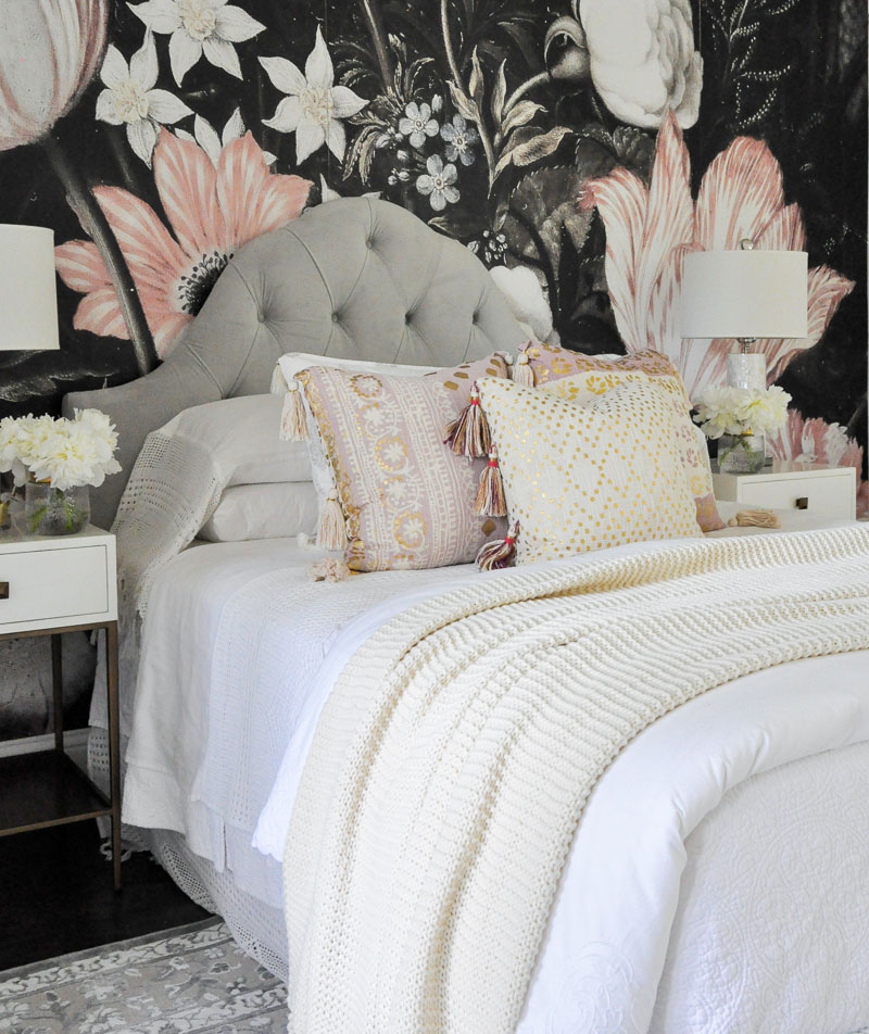 bedroom floral wallpaper blush accents