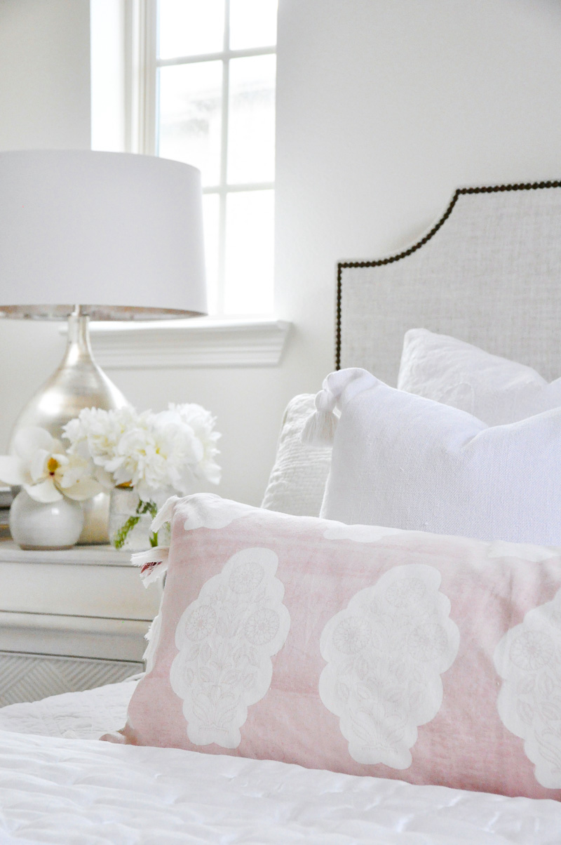 white bedroom bedside styled accessories
