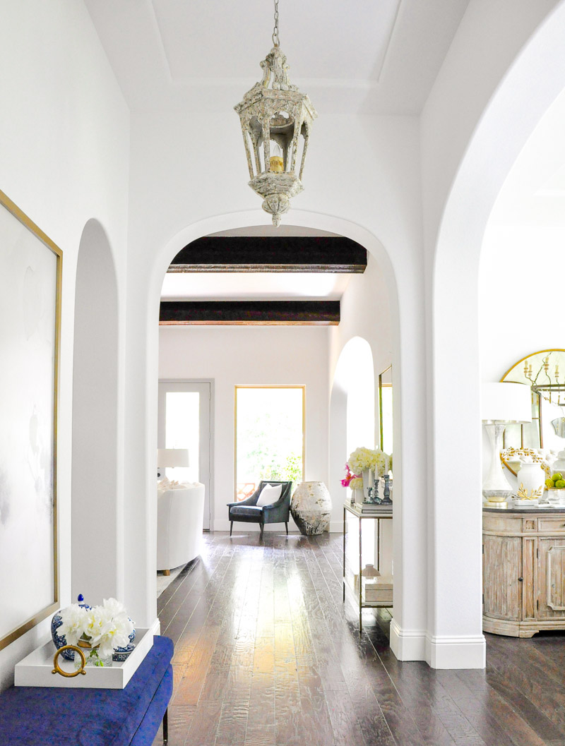 Arched entry hall wood beams