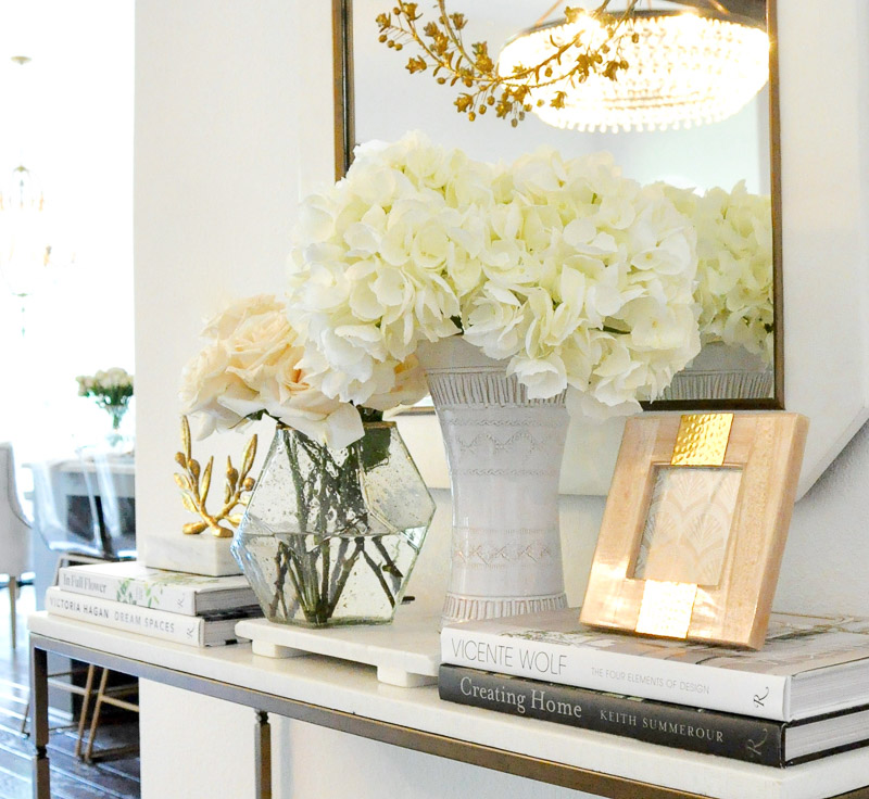 Decorative books console table