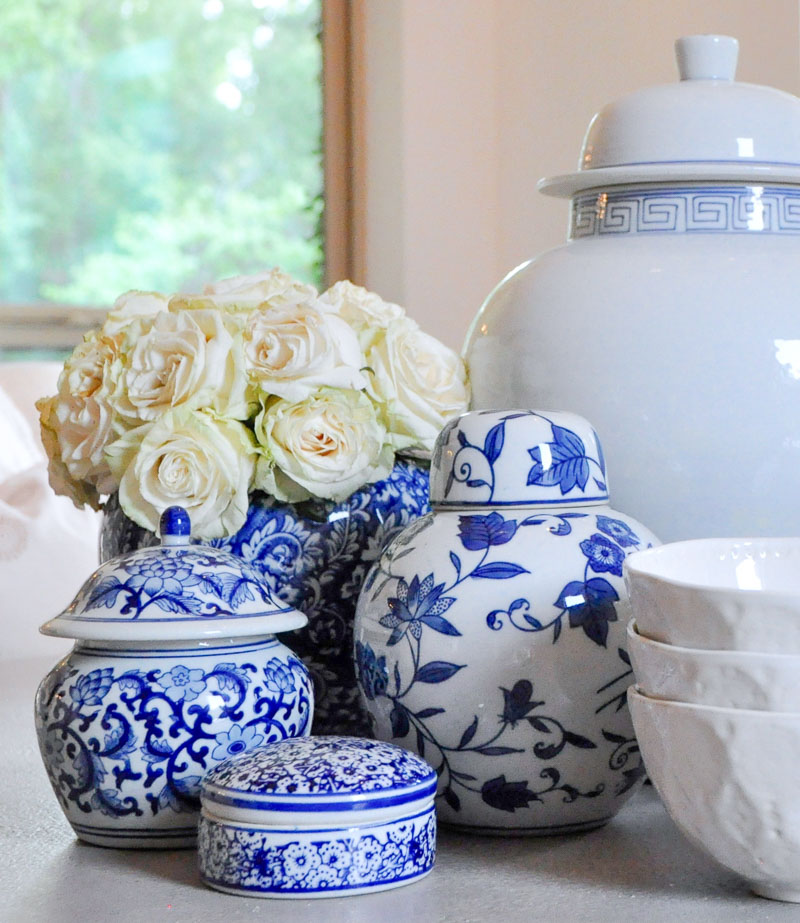 Collection blue white ginger jars