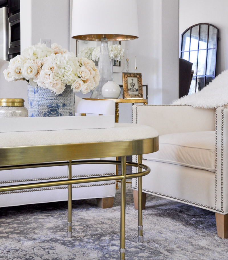 white tray coffee table styled home accessories