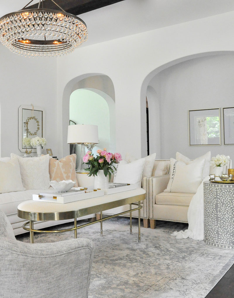 Living room white gold accents beautiful lighting
