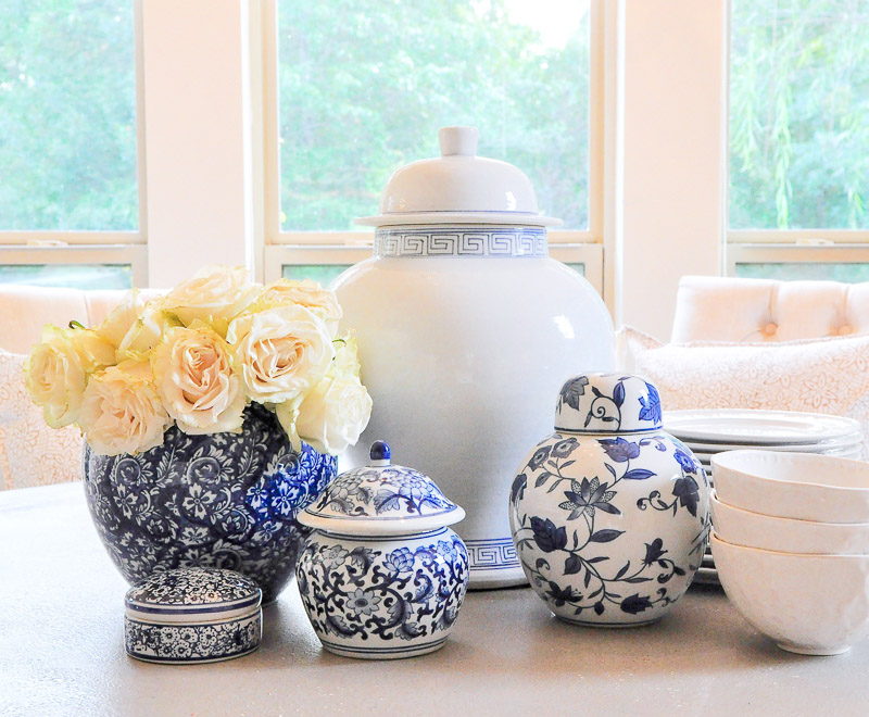 Collection beautiful blue white ginger jars