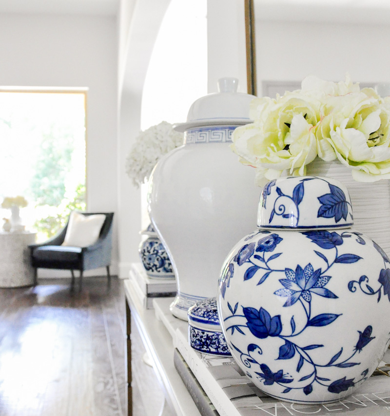 Blue white ginger jars styled console