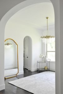 Beautiful gold framed transitional floor mirror