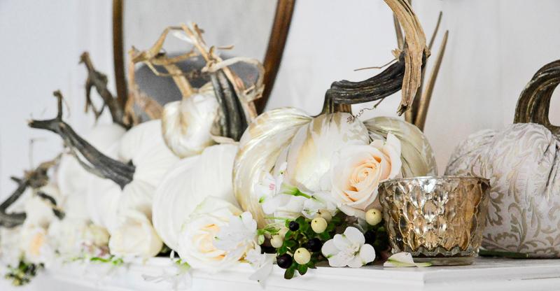 Beautiful white pumpkins fireplace mantel
