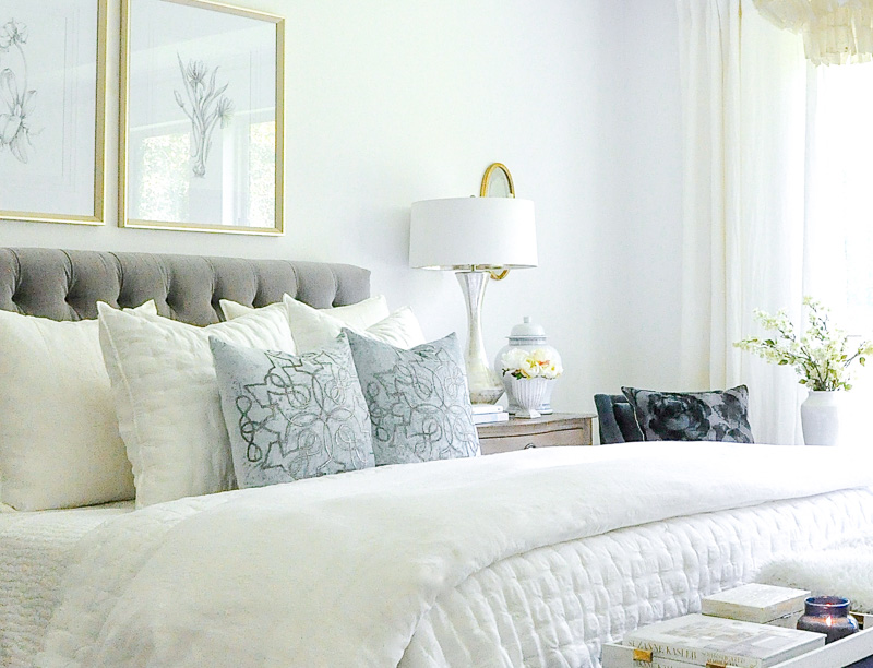 Bedroom tufted bed white bedding