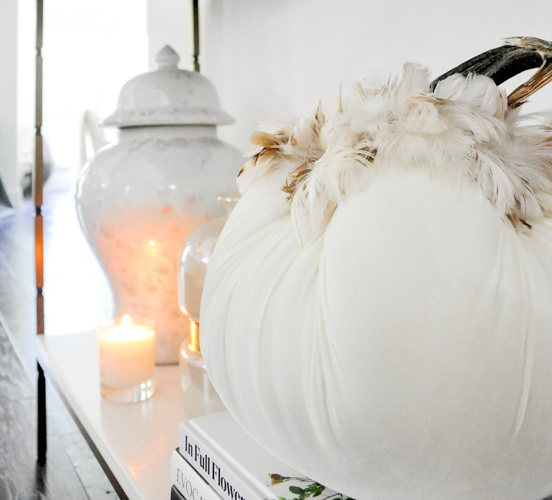 Console table fall decor white velvet pumpkin feathers