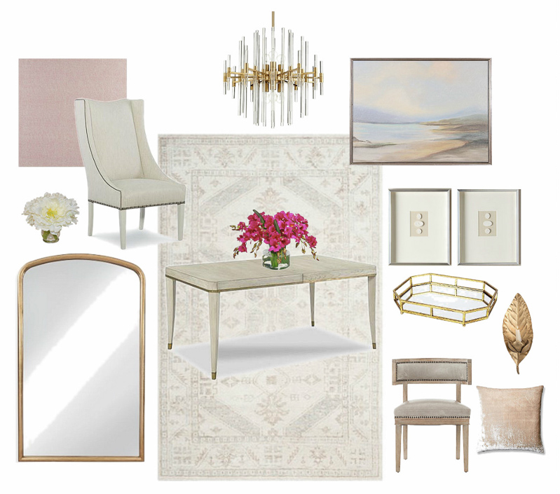 Beautiful neutral dining room mood board