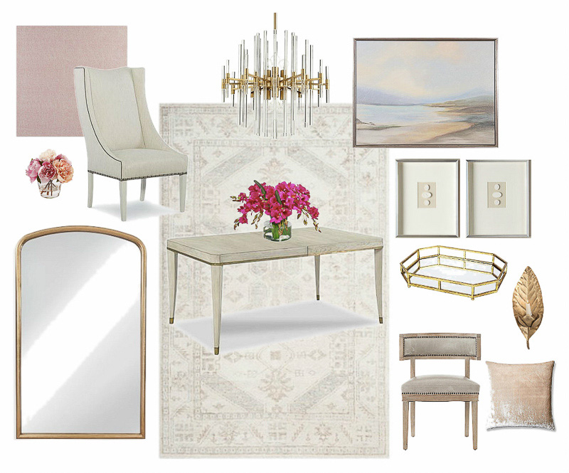 Beautiful neutral dining room mood board