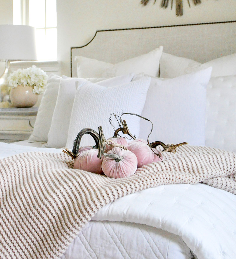 Fall bedroom blush pumpkins white bedding