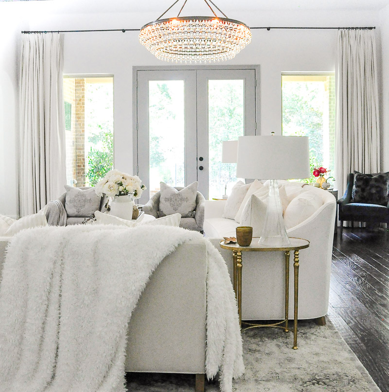 Fall living room cozy throw white furniture