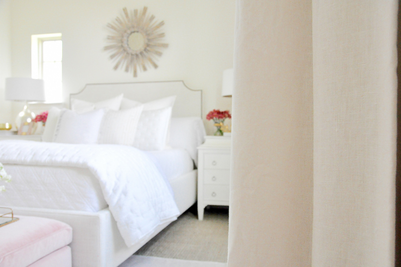 Guest bedroom draperies white linen