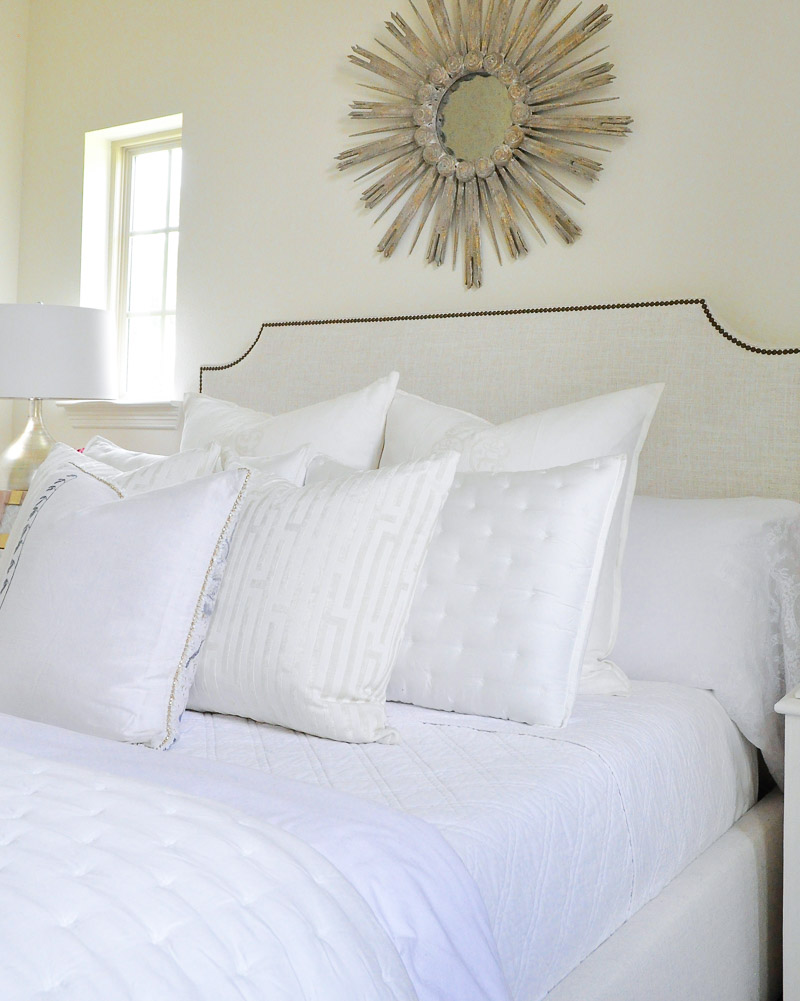Beautiful overstuffed white pillows.